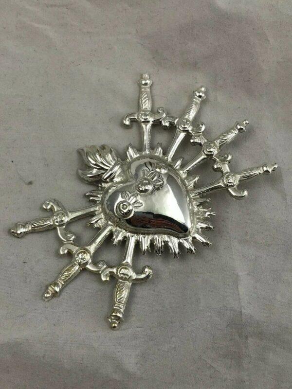 Cuore sette pugnali spade Addolorata Dolosa ottone bagno argento 9,5 x 6 cm