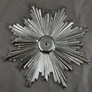 Raggiera Lastra di ottone cesellata a mano bagno argento Misure 17 cm diametro